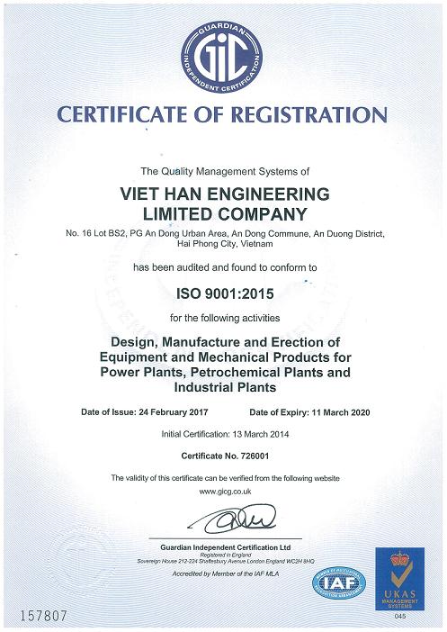 Certificate of registration ISO 9001 2015 1