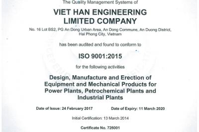 VHE has been certificeted ISO 9001: 2015